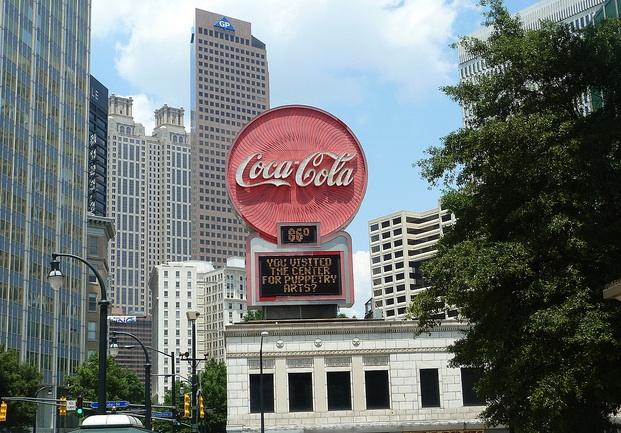 Iconic Coca Cola sign at Atlanta's Five Points