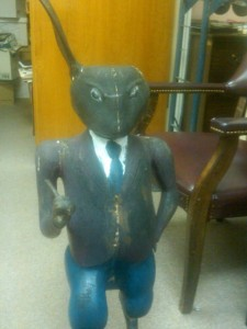 The damaged Brer Rabbit statue after its recovery from the woods. Credit: Putnam County Sheriff's Department