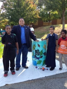 Rain barrels, with Councilmember Bond