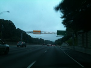 Southbound I-75 approaching Moores Mill Road, July 13, 2012