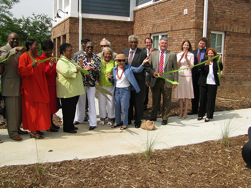 Citizens celebrate at the groundbreaking ceremony of Sustainable Fellwood, a green affordable housing development in Savannah, GA.
