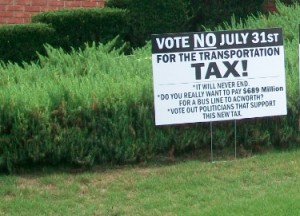 Vote No sign