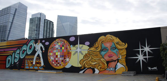 A new mural in Buckhead celebrates the notorious Limelight disco, which inspired the adjacent grocery store's nickname: Disco Kroger. The LImelight, near Piedmont and Peachtree, is now home to Binders Art Supplies and Frames.