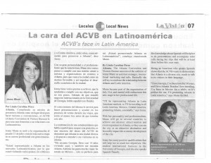 Clip from La Vision newspaper about Jenny Munn as the ACVB's Latin America liaison.