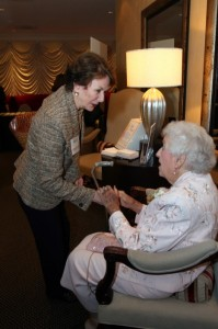 Carol Hunstein, current Chief Justice for the Georgia Supreme Court, greets Ruby Crawford