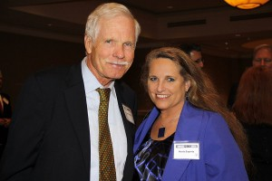 Ted Turner and Maria Saporta at an Atlanta Press Club Hall of Fame dinner (Photo by Spark St.Jude/MagicOnFilm)
